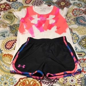Under Armour Matching Sets - Girl's Under Armour shorts and tee
